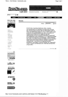 les Inrocks.com - Les Justes-Story de David Noir - Arrêt des représentations