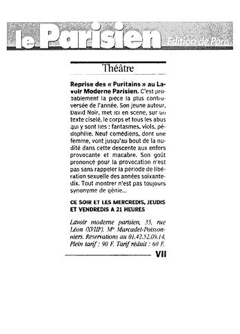 Le Parisien - Les Puritains de David Noir